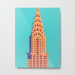 Chrysler Building New York Art Deco - Cyan Metal Print