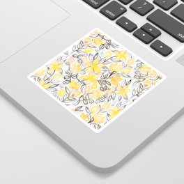 Sunny Yellow Crayon Striped Summer Floral Sticker