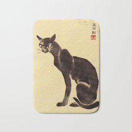 Aoyama Masaharu Black Skinny Cat Japanese Woodblock Print East Asian Art Bath Mat