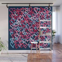 Colorful  Hearts - Graffiti Style Wall Mural