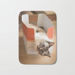 The cute cat in the box Bath Mat