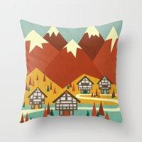 switzerland Throw Pillows featuring Switzerland by Kakel