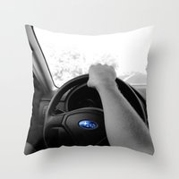 subaru Throw Pillows featuring Subaru by Maggie Wheeler