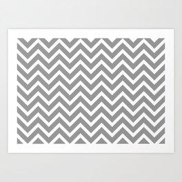 grey, white zig zag pattern design Art Print