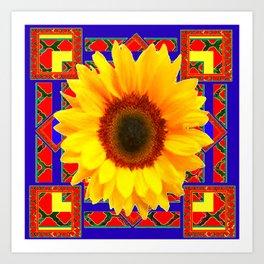 WESTERN BLUE-RED YELLOW SUNFLOWER FLORAL ART Art Print