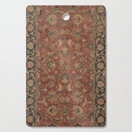 Flowery Boho Rug I // 17th Century Distressed Colorful Red Navy Blue Burlap Tan Ornate Accent Patter Cutting Board