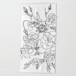 Floral Ink - Black & White Beach Towel