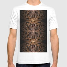 Steampunk Engine Abstract Fractal Art White Mens Fitted Tee MEDIUM