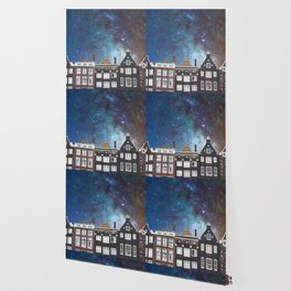 Amsterdam Nertherlands At Night-Canal Houses Wallpaper