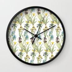 Vintage Floral Pattern   No. 2B   Iris Flowers   Irises Wall Clock
