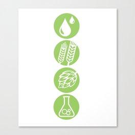BEER Water, Barley, Hops & Yeast Canvas Print