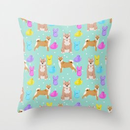 Shiba Inu dog breed peeps marshmallow easter spring dog pattern gifts Shiba Inus Throw Pillow