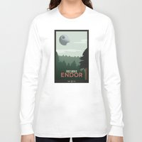 travel poster Long Sleeve T-shirts featuring Endor Travel Poster by Tawd86