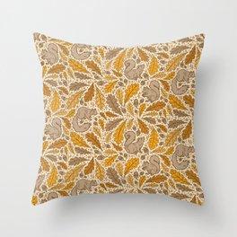 Oak & Squirrels | Autumn Yellows Palette Throw Pillow
