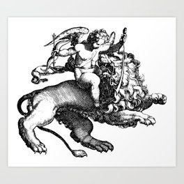 Angel and Lion Art Print