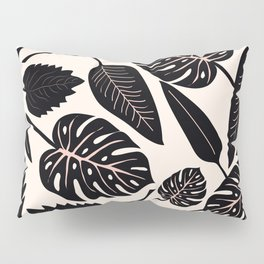 Monstera pattern in black and pastel Pillow Sham
