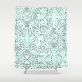 Dotted Floral Scroll in Mint and Grey Shower Curtain