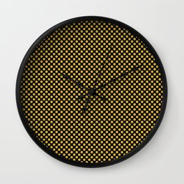 Black and Spicy Mustard Polka Dots Wall Clock