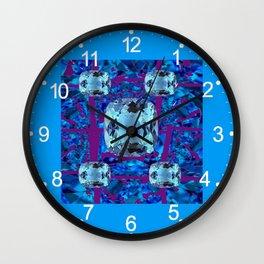 Modern Blue-purple Aquamarine Gems Abstract Wall Clock