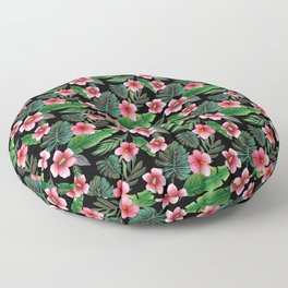 Palm and hibiscus Tropical Watercolor pattern Floor Pillow