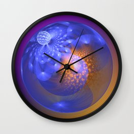 Out of the blue, fractal 3-D abstract Wall Clock