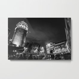 Istanbul: A Fusion of Black and White Metal Print