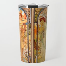 """Alphonse Mucha """"Times of day"""" Travel Mug"""