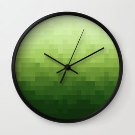 Gradient Pixel Green Wall Clock