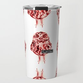 Owl Sketch Red Travel Mug