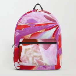 Red and White Tulip Abstract Backpack