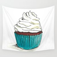 cupcake Wall Tapestries featuring Cupcake by HurlinghamRoadStudio