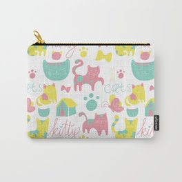Abstract lime green pink cute cats pattern modern typography Carry-All Pouch