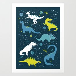 Space Dinosaurs in Bright Green and Blue Art Print