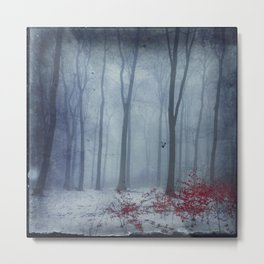 Winter Forest in Red and Blue Metal Print
