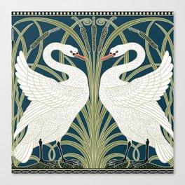 Swan Rush and Iris by Walter Crane Canvas Print