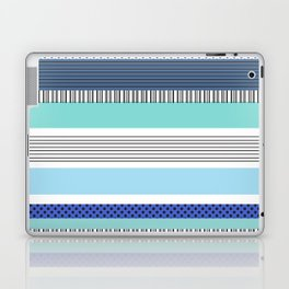 Striped Pattern Shades of Blue with Polka Dots Laptop & iPad Skin