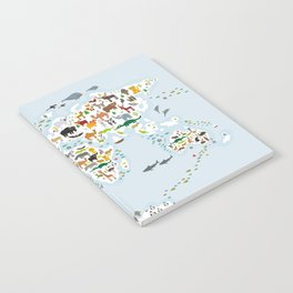 Cartoon animal world map for children and kids, Animals from all over the world, back to school Notebook