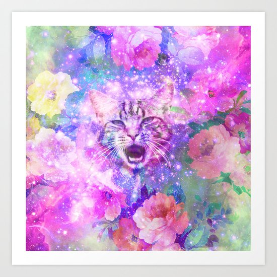 Space Cat | Girly Kitten Cat Romantic Floral Pink Nebula Space Art Print