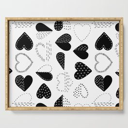 Black and White Patch Boro Embroidery Hearts Serving Tray