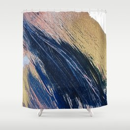 Rise: an abstract mixed-media landscape in blue pink and gold by Alyssa Hamilton Art Shower Curtain