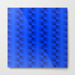 A horizontal ribbon of raised squares with blue intersecting rectangular triangles and highlights Metal Print