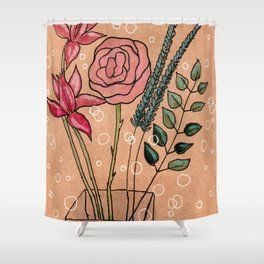 flowers on brown paper Shower Curtain