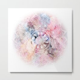 Whimsical white watercolor mandala design Metal Print
