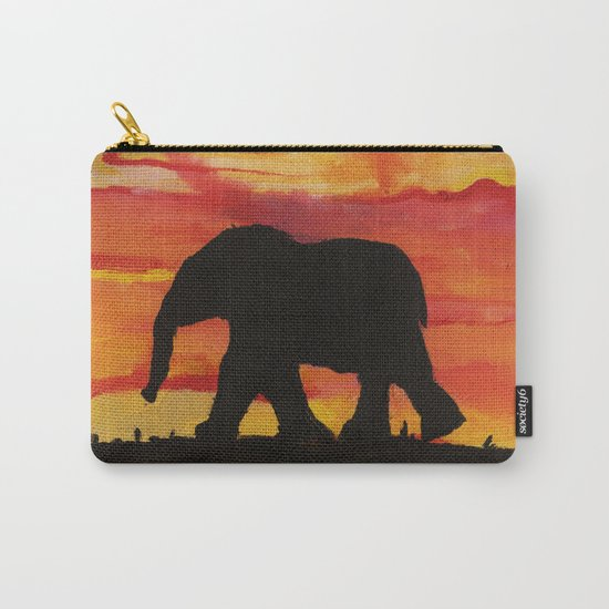 Baby Elephant Sunset Landscape Carry-All Pouch