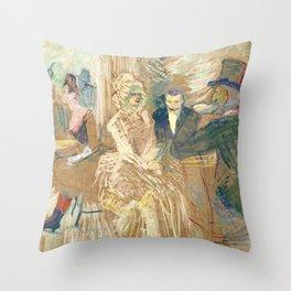 """Henri de Toulouse-Lautrec """"Au Bal masqué de l'Elysée Montmartre"""" Throw Pillow"""