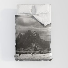 Horse and Grand Teton (Black and White) Comforters