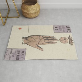Vintage French Moon Tarot Card Rug