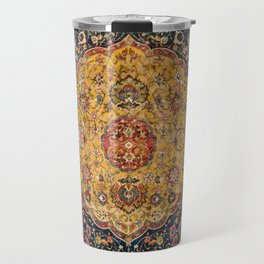 Indian Boho III // 16th Century Distressed Red Green Blue Flowery Colorful Ornate Rug Pattern Travel Mug