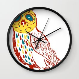 Sugar Skull Owl Wall Clock