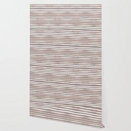 Simply Shibori Stripes Lunar Gray and Red Earth Wallpaper